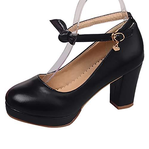 Kittcatt Damen Riemchen High Heels Blockabsatz Plateau Pumps mit Schleife 8cm Absatz Rockabilly Schuhe