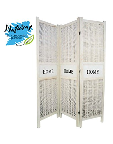 Home Line Biombo Separador Blanco de Madera Natural y Mimbre, decape B