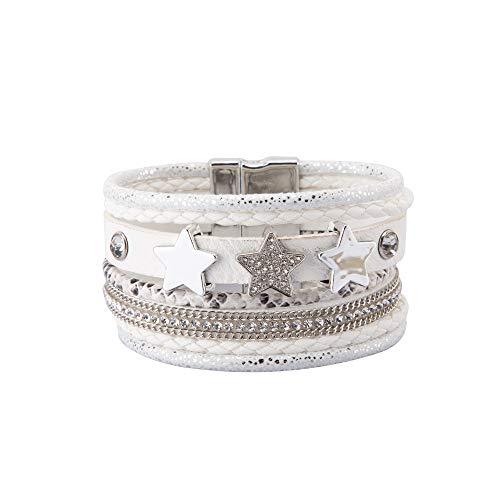 NovaLuna - Wickelarmband 'Triple Star' mit Strass, Drei Stern Amuletten und Magnet-Verschluss - Damen Armband Accessoire Glitzer Steine Schmuck Armschmuck in SCHWANEN Weiss