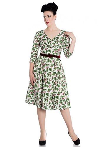Hell Bunny Holly Berry Weihnachten 50er Vintage Retro Flare Kleid - Weiß (4XL - DE 48-50) (Weihnachten Boutique Kleid)