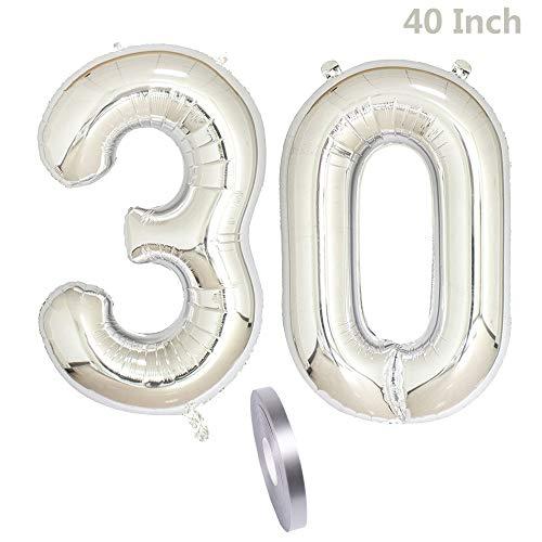 2 Luftballons Zahl 30,Nummer 30 Luftballon Geburtstags Dekoration Silber Männer, 40