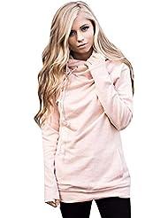 Sentao Mujeres Suelto Sudaderas con Capucha Camiseta Encapuchada Splice Suéter Jersey Sweatshirt Pullover