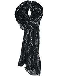 TOOGOO(R) Sweet Symphony Allover Music Notes Scarf Black
