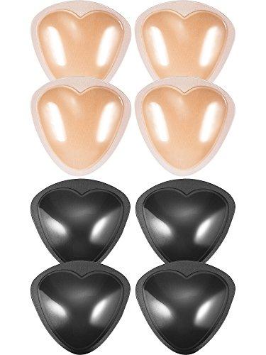 Hestya 4 Pares de Almohadillas de Sujetador Rellenos Autoadhesivos Insertos de Pecho de Push Up para Bikini, Forma de Triángulo, Negro y Beige