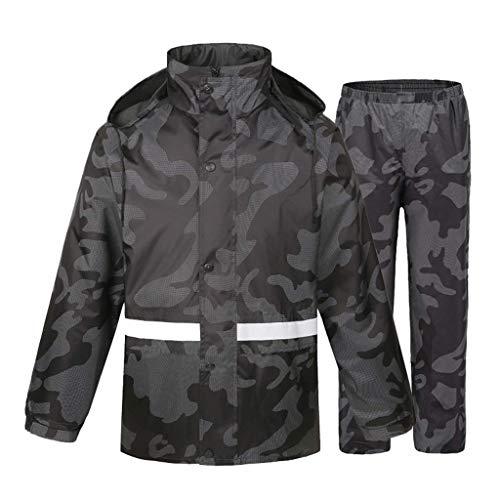Giow Adult Camouflage Suit Raincoat - Wasserdicht und Winddicht Atmungsaktiver Regenmantel Sicherheit Reflektierender Umweltschutz Stoff Schießen Camping Navy Camouflage Navy Blue Raincoat