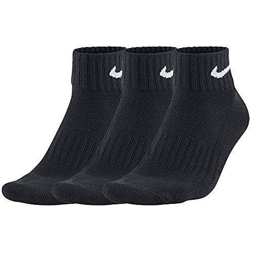 Nike Unisex  Socken Value Cotton Quarter 3 er Pack, Schwarz (Black/White),42-46 -