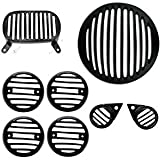 #9: B TO B TRADERS Bike Headlight Indicators Tail Light Strobe Light ABS Plastic Grill Cover Set Black for Royal Enfield Bullet Electra