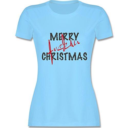 Weihnachten & Silvester - Merry fuckin Christmas Vintage - tailliertes Premium T-Shirt mit Rundhalsausschnitt für Damen Hellblau