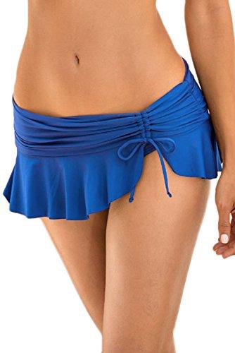 New Royal Blau Seite Krawatte Skirted Hipster Swim Bikini Bottoms Badeanzug Badebekleidung Sommer tragen Größe UK 14EU 42 (Bikini Seite Krawatte)