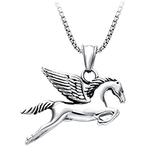 Fashion Jewelry SENFAI argento anticato Myth Pegasus-Collana con ciondolo, ali stereoscopico con testa di cavallo animale Jewelry-Collana da donna