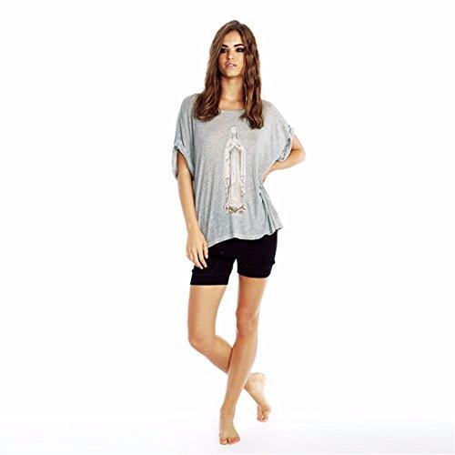 Der Neuen Frauen Grau 3D Gedruckt Roll Up Huelse Lose uebersteigt Hemden T Shirt Abschlag Xs Xxl Grau