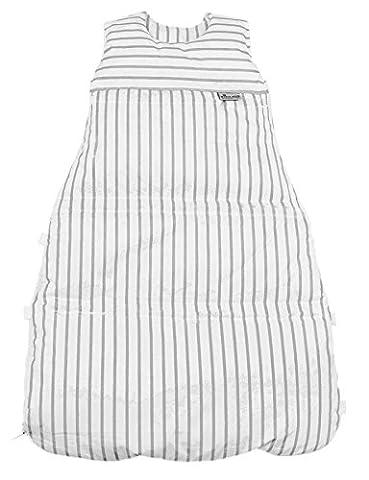 Climarelle Daunenschlafsack, längenverstellbar, Alterskl. ca 12-24 Monate, Streifen weiß - grau, 110 (Günstige Jugendbetten)