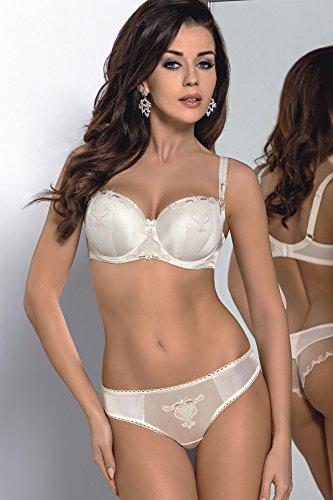 Gorsenia K255 Emilly Slips für Damen, Brazilian, Stickerei, bezaubernd, elegant, Top Qualität, Setteil, EU Elfenbein