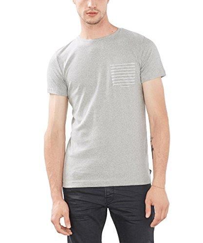 ESPRIT Herren T-Shirt mit Brusttasche-Slim Fit, Blau Grau (MEDIUM GREY 035)