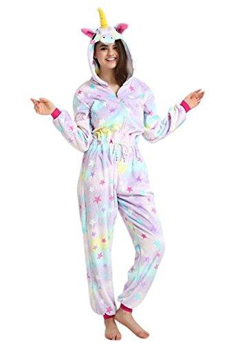 Mystery&Melody Disfraz de Unicornio Adulto arcoíris para Mujer Chicas Pijama de Navidad Animal Navidad (Star-Zipper, M)