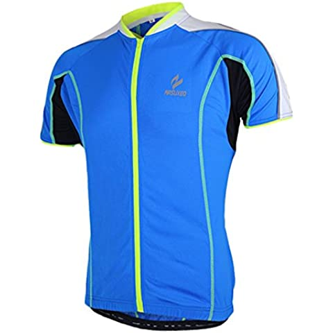 MaMaison007 Arsuxeo bici bicicleta ciclismo Tops ropa corto de hombres mangas Ciclismo Jersey ropa deportiva azul -S
