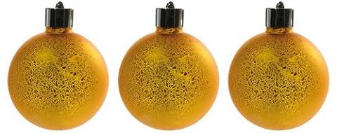 Naeve Leuchten LED Glaskugel 3-er Set mit Fernbedienung, inklusive Batterien, Höhe: 10 cm, gold satiniert