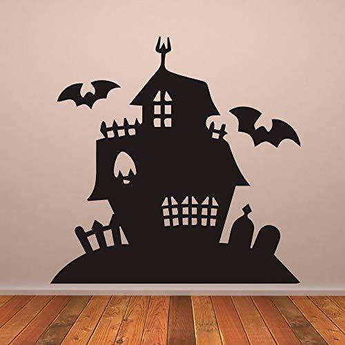ONETOTOP Haunted House Gruselige Villa Halloween Tapete Abnehmbare Aufkleber Wohnzimmer Kunst Dekor Vinyl Wandaufkleber Kinderzimmer 57 * 57 cm