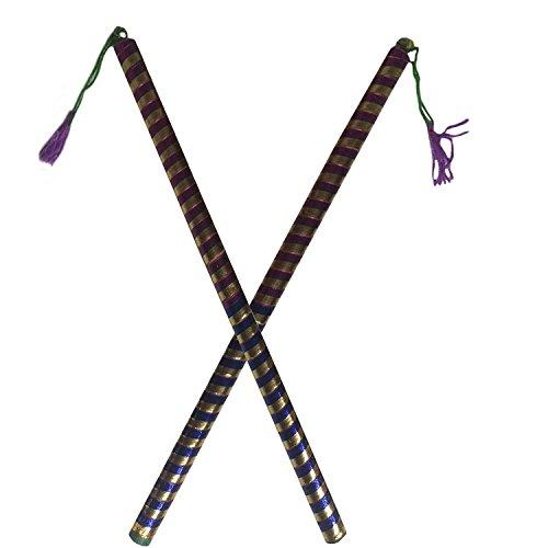 Dandiya-Sticks - Aluminiumstäbe, 2 Paar, Farbe: Rosa / Blau, klein, gerändelt Dandiya-Design, speziell zu Navaratri für Kinder