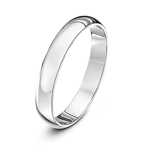 Theia Unisex 14ct White Gold Super Heavy D Shape Polished 3mm Wedding Ring - Size S