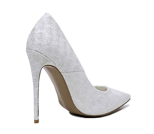 Donne 12 cm Punta Punta Nobile Pizzo Charming Flower Pattini High Heels Sandali Scarpe Party Scarpe Bianco Dimensione 34-43 White