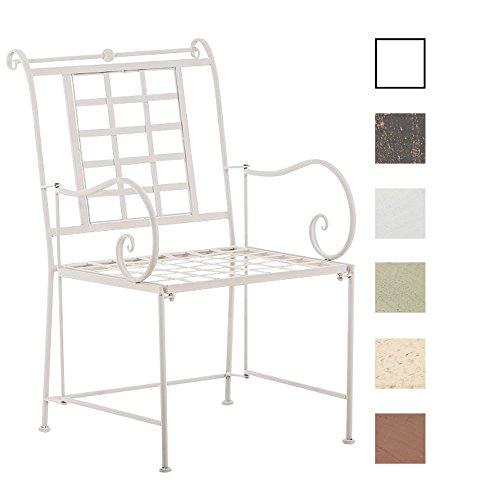 CLP Chaise de Jardin Helen, Chaise de Jardin en Fer Forgé Confortable avec Dossier et Accoudoirs, Design Antique et Romantique, Fabrication à la Main, Disponibles en Plusieurs Couleurs : Blanc