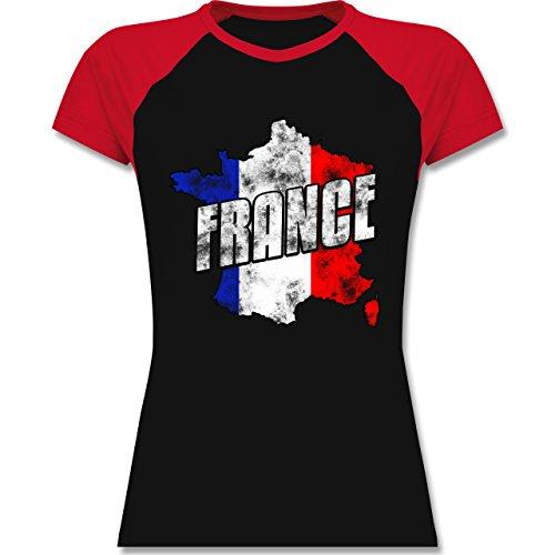 EM 2016 - Frankreich - France Umriss Vintage - zweifarbiges Baseballshirt / Raglan T-Shirt für Damen Schwarz/Rot