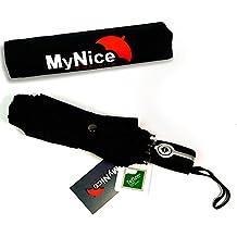 MyNiceOption Paraguas de viaje con botón apertura y cierre automático.   Cobertura que repele la lluvia  Teflón resistente al viento   Pequeño, ligero, diseño compacto - Paraguas Plegable