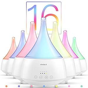 Aroma Diffuser 300ml Luftbefeuchter Ultraschall Humidifier Raumbefeuchter LED Nachtlicht mit 16 Farben, 4 Zeitmodi 2 Nebelmodi für Schlaf- oder Kinderzimmer usw. von ELEHOT