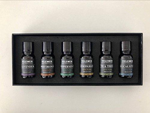 Yelewen Aromatherapie Set 6 Ätherische Öle 100% Reine & Therapeutische Duftöle Geschenk-Set -6/10 ml Kit (Lavendel, Eukalyptus, Zitronengras, Teebaum, Pfefferminze, Süße Orange) (Ätherisches Öl-geschenk-set)