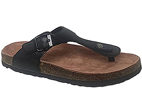 Mens Bio Rock Faux Leather Black Toe Post Buckle Cork Effect Chunky Sole Slip On Sliders Flip Flops Sandals Size 6-12 (UK 6/ EU 40, Black)