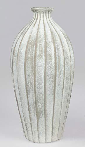formano Deko Bodenvase Landhaus Relief H. 46cm Creme weiß Keramik