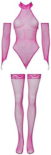 Orion Body Set - sexy String-Body mit Armstulpen und Strümpfen, Reizwäsche in erotischer Netz-Optik, Bodysuit mit Spitze, pink
