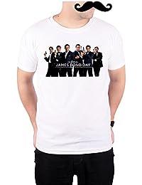 Mooch Wale Global James Bond Day White Quick-Dri T-shirt For Men