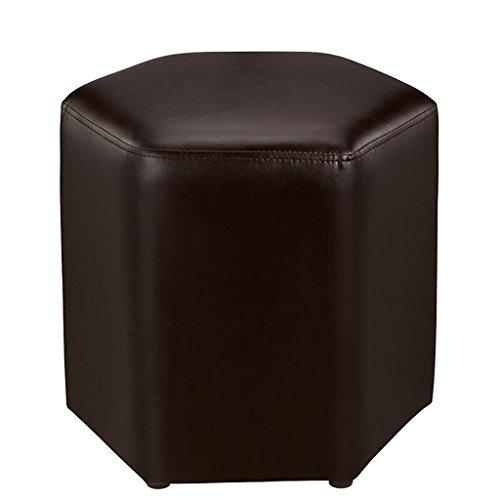 Rollsnownow Tabouret de canapé marron clair changer le tabouret de chaussures Tabouret de tabouret simple en cuir PU simple hexagone moderne