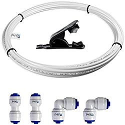 PureOne Verlängerungs-Set B1. 1/4 Zoll (6 mm). 6-Teilig. Wasserschlauch, Schnellverbinder, Cutter. Verlängerung für Wasserfilter, Osmose, Spülmaschine, Side-by-Side Kühlschränke. Länge wählbar 5 Meter