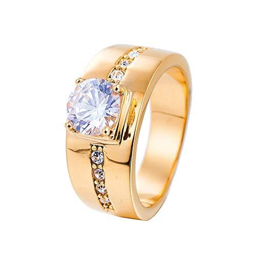 Lafeil Ring Herren Gold Ringe Männer Edelstahl Linie Breiter Ring Gold Gr. 54 (17.2) 10mm 8g Gothicring -