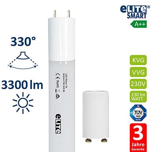 eLITe Smart LED Röhre T8   150 cm   6500K   Glas bruchresistent   G13   25 W   3300 Lumen hell  330°   130lm/W   kein Durchhängen   TÜV (6500 K/Tageslicht, 150 cm) (Rohr Fall)