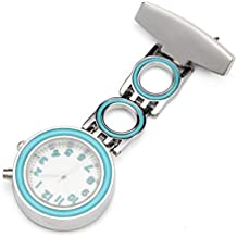 ShoppeWatch Nurse Lapel Pin Watch With Glow Backlight Easy Read Blue Arabic Numerals White Dial NW-230