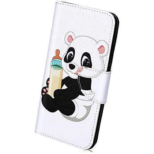 Kompatibel mit Leder Handyhülle iPhone XS Max Handytasche Bunt Muster Bookstyle Luxus Tasche Flip Case Ultra-Slim Cover Lederhülle Klapphülle mit Kartenfach Leder Handy Schutzhülle,Bär