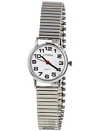 Citron - Reloj de Pulsera para Mujer (Esfera Blanca y Correa Plateada), diseño