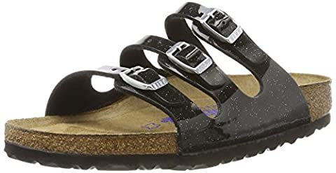 Birkenstock Damen Florida Birko-Flor Softfootbed Pantoletten, Schwarz (Magic Galaxy Black), 41 EU