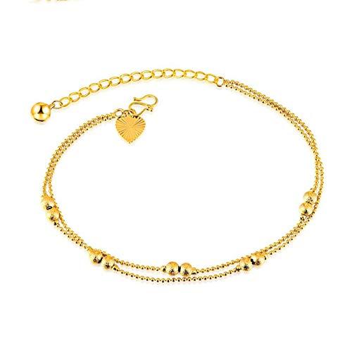 SonMo Damen Fußkettchen Vergoldet Fusskettchen Indisch Fuß Kette Bälle Gold Fußschmuck für Frauen Mädchen 20+5CM