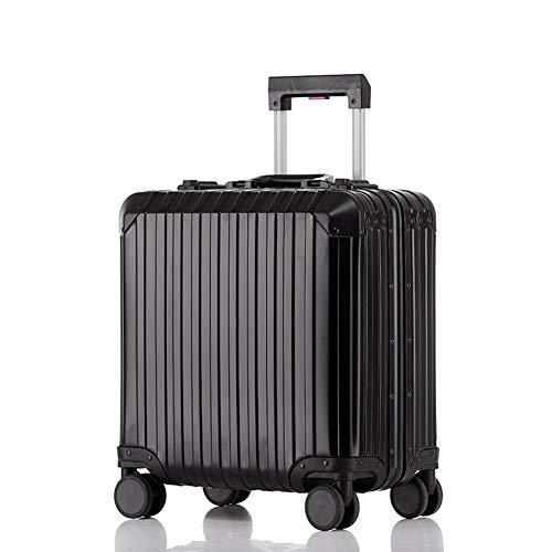 Hu-bag Business-Koffer, Stilvolle Aluminium-Magnesium-Legierung Durable Retro Boarding Box 360 ° Rotating Radfederweg Beweglicher Stab-Boxen,Schwarz,18inches
