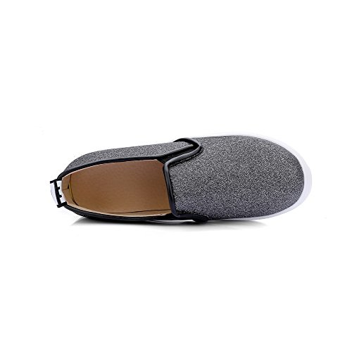 VogueZone009 Femme Couleur Unie Matière Souple à Talon Correct Tire Rond Chaussures Légeres Noir