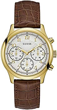 Guess Mens Quartz Watch, Chronograph Display and Leather Strap W1017L2