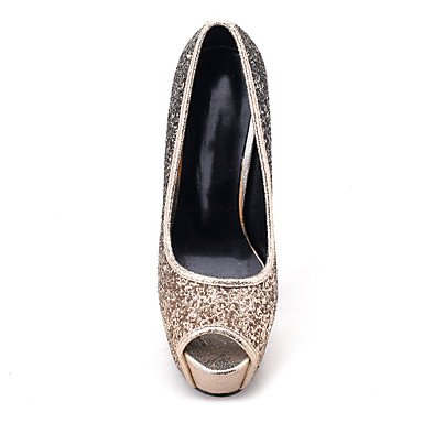Moda donna sexy personalizzate sandali donna tacchi Primavera / Estate / Autunno Platform Glitter Wedding / Esterni / Ufficio & Carriera / Party & Sera / Casual Stiletto HeelSequin gloden+black
