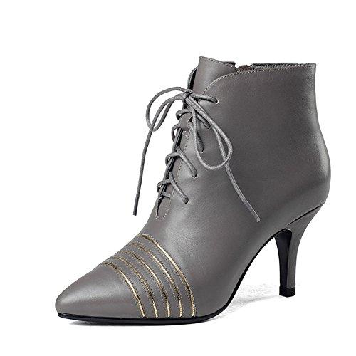 Martin stivali per lautunno/inverno/ moda donna stivali/Breve stivali a spillo a punta/ stivaletti tacco alto pizzo-B Lunghezza piede=22.8CM(9Inch)