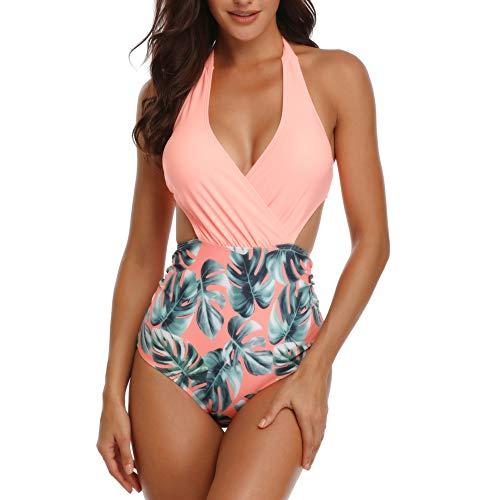 Misolin Damen Badeanzug Neckholder V-Ausschnitt Rückenfrei Einteiliger Bademode Bauchweg Cutouts Strandbikini, Rosa, L (EU 40-42) -