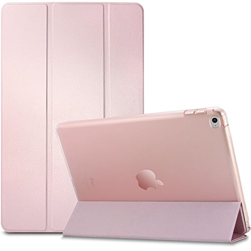 iPad Mini 4 Hülle, Infiland Ultra Dünn Tri-Fold Smart-Muschel PU Leder Ultra Schlank Superleicht Ständer Smart Shell Cover Schutzhülle Etui Tasche für iPad mini 4 (mit Auto Schlaf / Wach Funktion)(Transparent Rosa Goldene)
